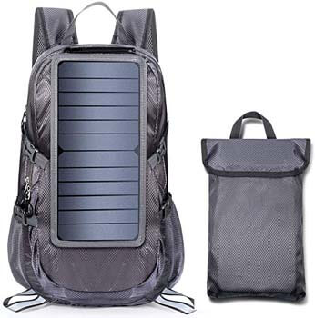 3.ECEEN Solar Backpack Foldable Hiking Daypack With 5V Power Supply