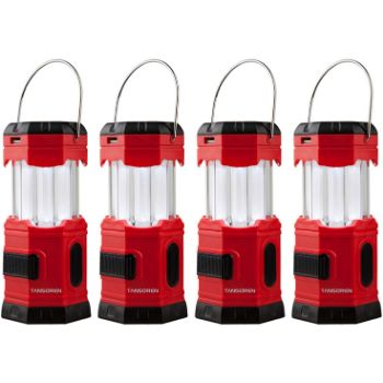 5. TANSOREN 4 Pack Portable LED Camping Lantern Solar USB Rechargeable or 3 AA Power Supply