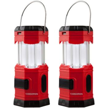 1. TANSOREN 2 Pack Portable LED Camping Lantern Solar USB Rechargeable or 3 AA Power Supply, Built-in Power Bank Compati Android Charge