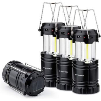 2. Kits of 4 Pack Solar USB Rechargeable Brightest COB LED Camping Lantern with Magnetic Base, Waterproof Collapsible Emergency LED Light
