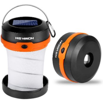4. HISVISION Solar Powered LED Camping Lantern, Collapsible Design Solar or USB, Chargeable Emergency Power Bank