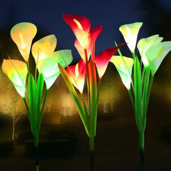 6. WOSPORTS Solar Lights Outdoor Garden Stake Flower Lights