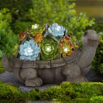 4. GIGALUMI Turtle Garden Figurines Outdoor Decor