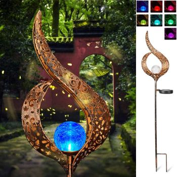 7. Solar Stake Lights Outdoor Crackle Glass Globe Stake Metal Lights